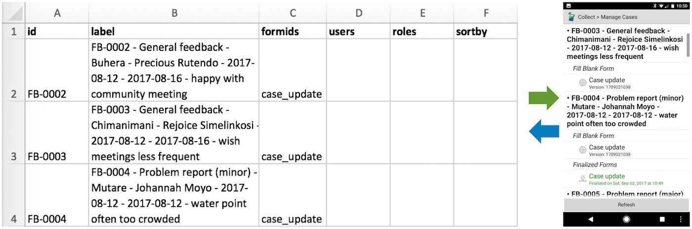 Mobile case management: case list