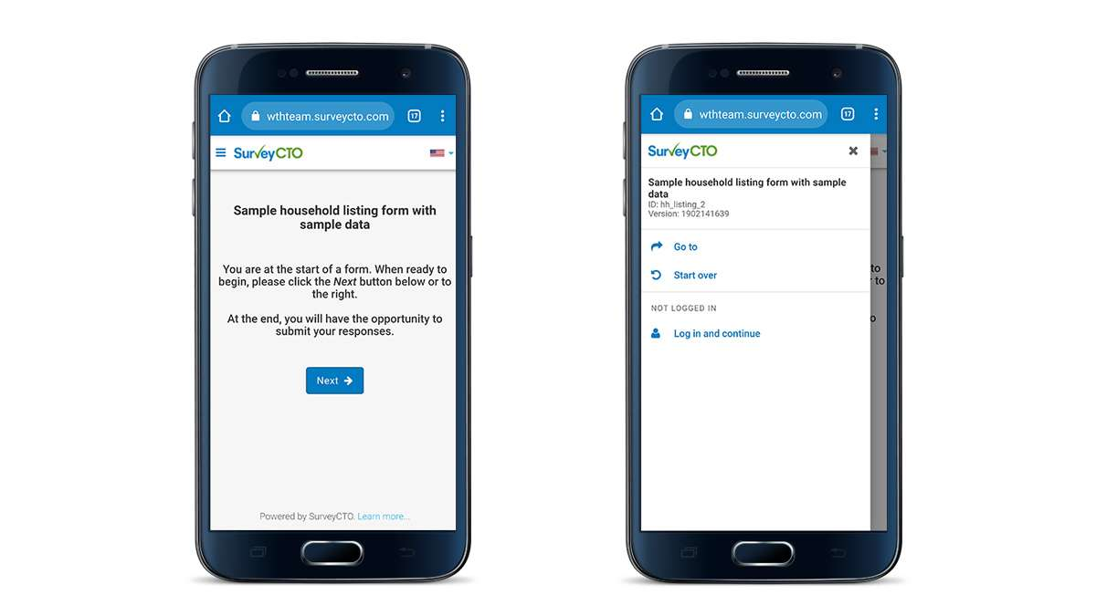 SurveyCTO web forms on mobile devices.